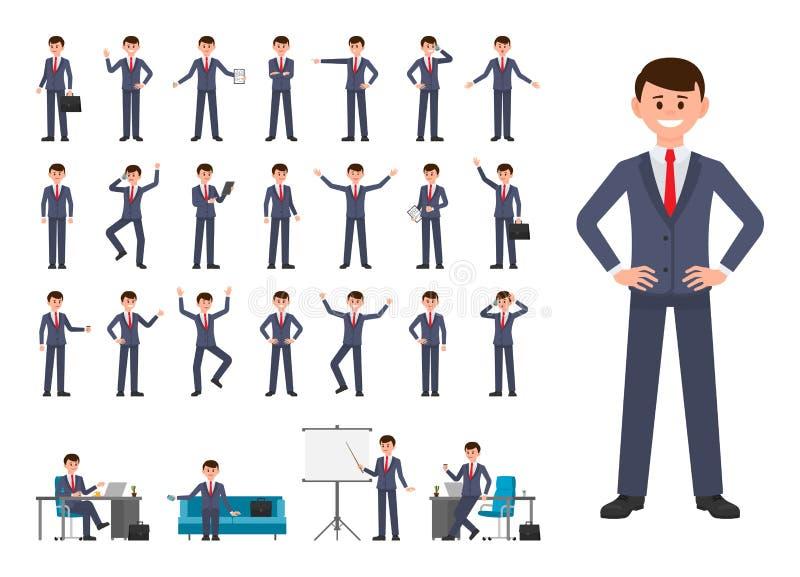 Zakenman in het donkerblauwe karakter van het kostuumbeeldverhaal Vectorillustratie die van persoon in bureau werken vector illustratie