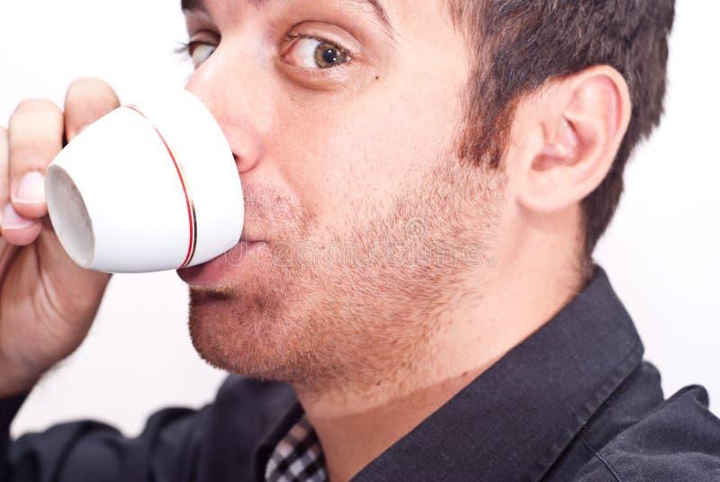 Zakenman het drinken koffie royalty-vrije stock foto