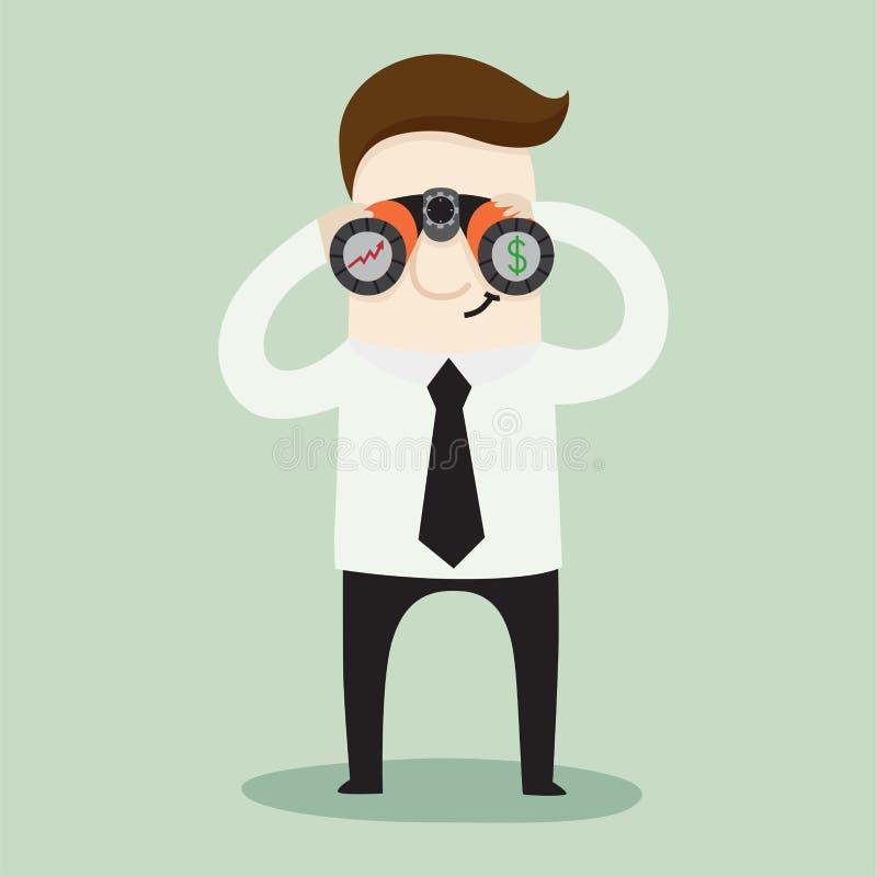 Zakenman het gebruiken bunoculars bekijkt de groei van de zaken en de winst royalty-vrije illustratie