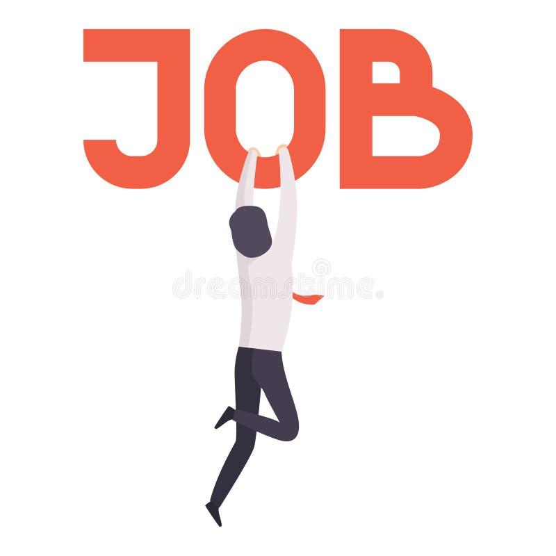 Zakenman het houden op de woordbaan, beambte stak van baan, werkloosheidsconcept, baanonderzoek, rekrutering in brand royalty-vrije illustratie