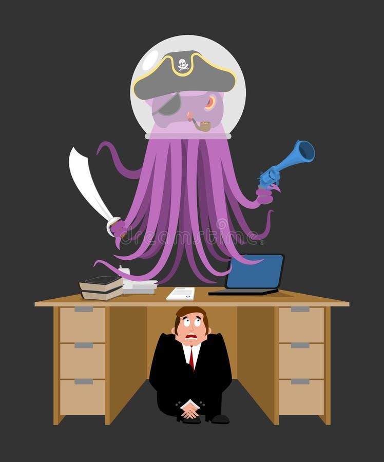 Zakenman in het kader van lijst van Vreemde Invaller wordt doen schrikken die bang gemaakte busi royalty-vrije illustratie