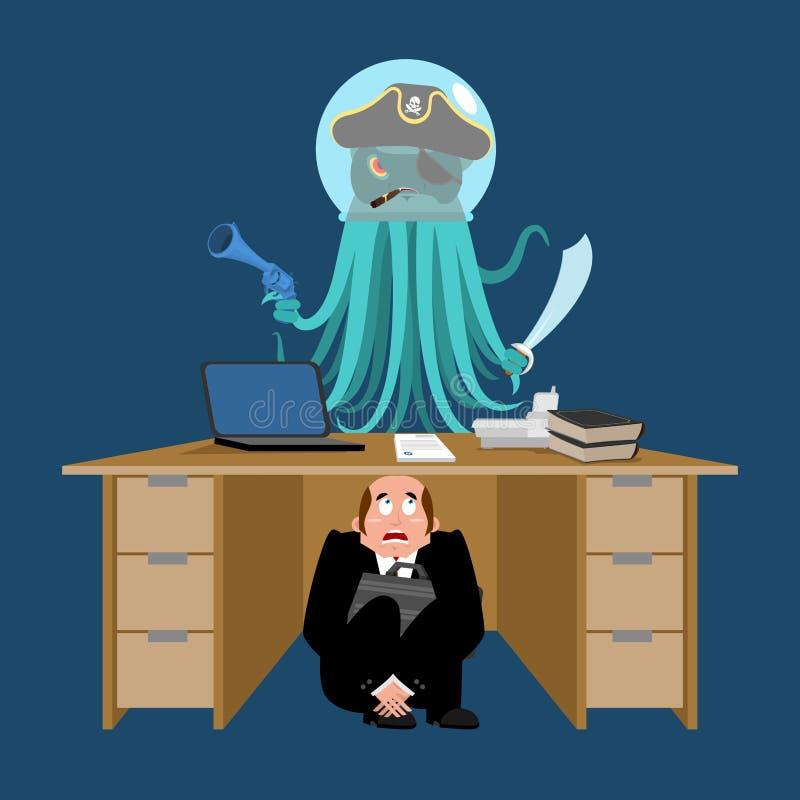 Zakenman in het kader van lijst van Vreemde Invaller wordt doen schrikken die bang gemaakte busi vector illustratie