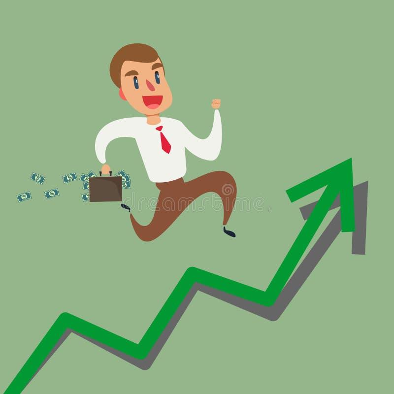 Zakenman het lanceren de grafiek van de de groeipijl Financieel concept Investering en succesvol succes of toenemen royalty-vrije illustratie