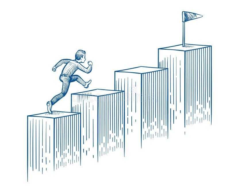Zakenman het lanceren treden Mens die aan doel lopen Succescarrière en bedrijfskanshand getrokken vectorconcept royalty-vrije illustratie