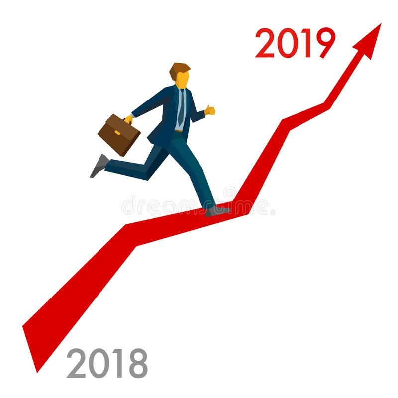 Zakenman het lopen groeit grafiek stock illustratie