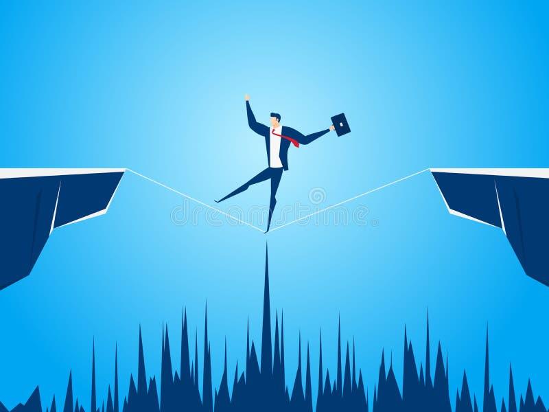 Zakenman het lopen strak koord over het hiaat tussen heuvel Het lopen over klippen Bedrijfsrisico en succesconcept royalty-vrije illustratie