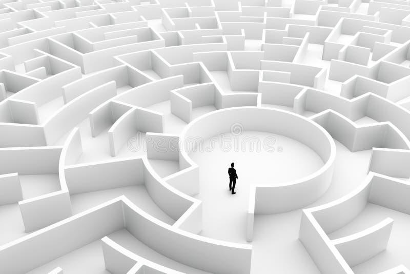 Zakenman in het midden van het labyrint Uitdagingsconcepten vector illustratie