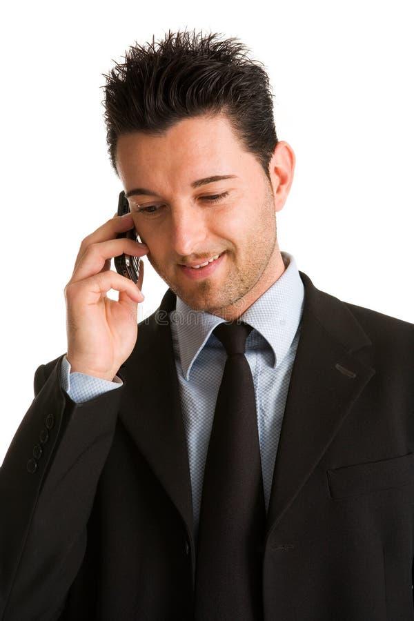 zakenman het mobiele spreken royalty-vrije stock foto's