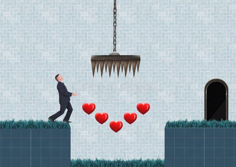 Zakenman in het Niveau van het Computerspel met harten en vallen stock illustratie