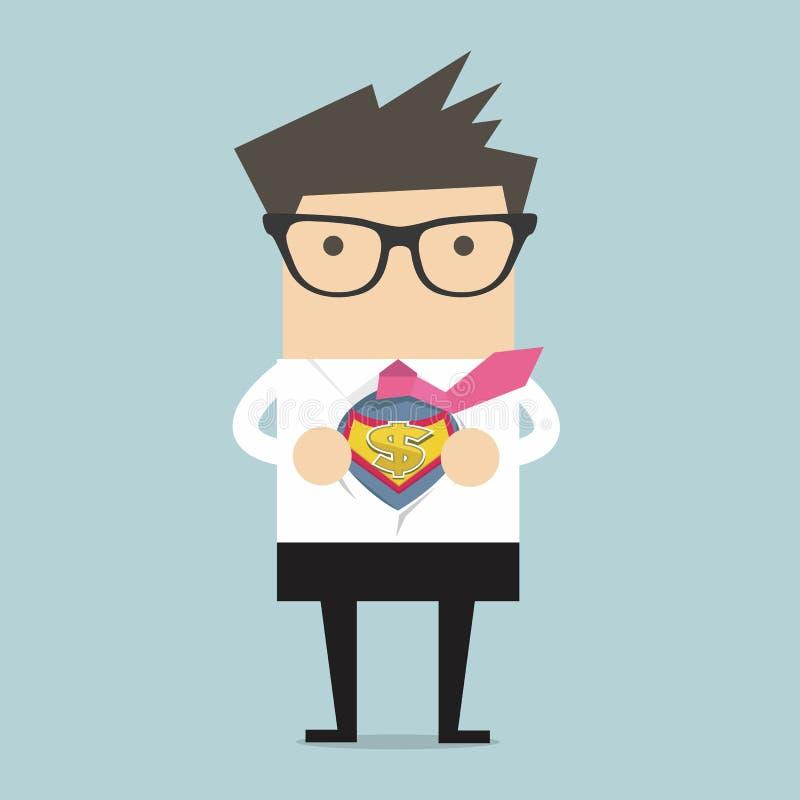 Zakenman het openen overhemd in superherostijl royalty-vrije illustratie
