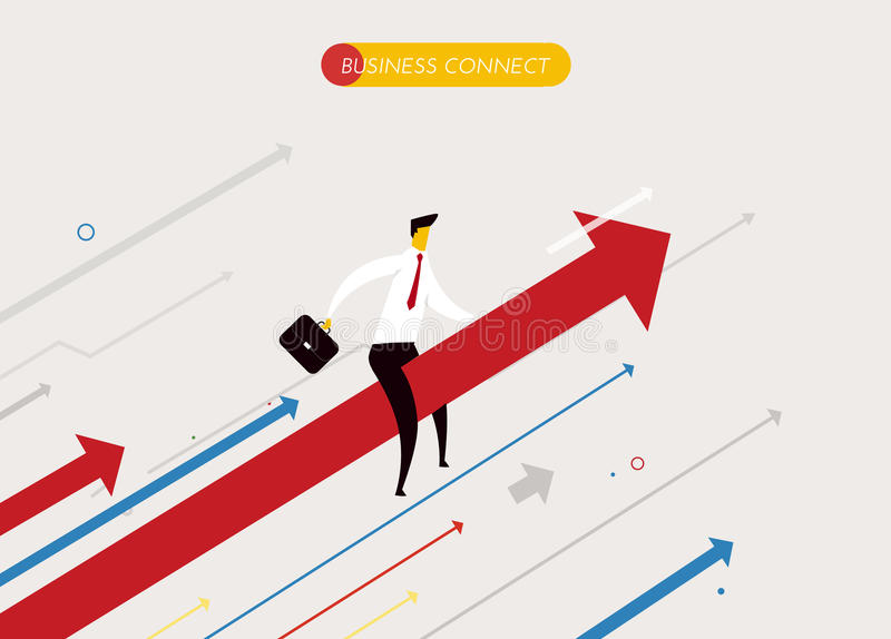Zakenman het vliegen succes stock illustratie
