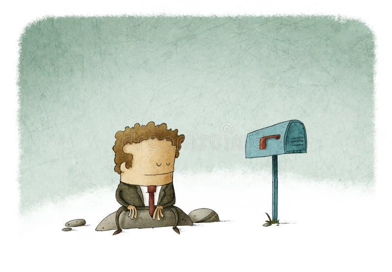 Zakenman het wachten post stock illustratie