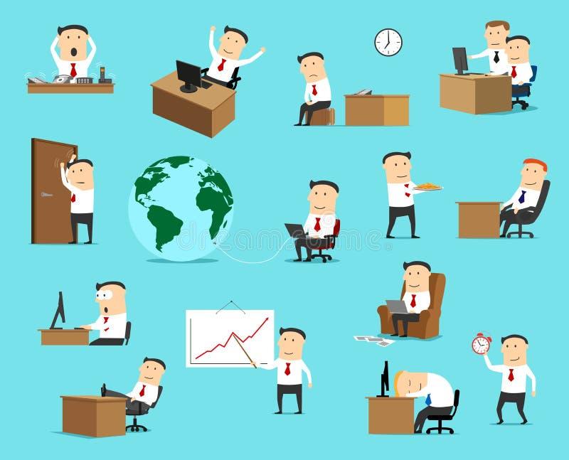 Zakenman, het werk bedrijfssituatiepictogrammen royalty-vrije illustratie