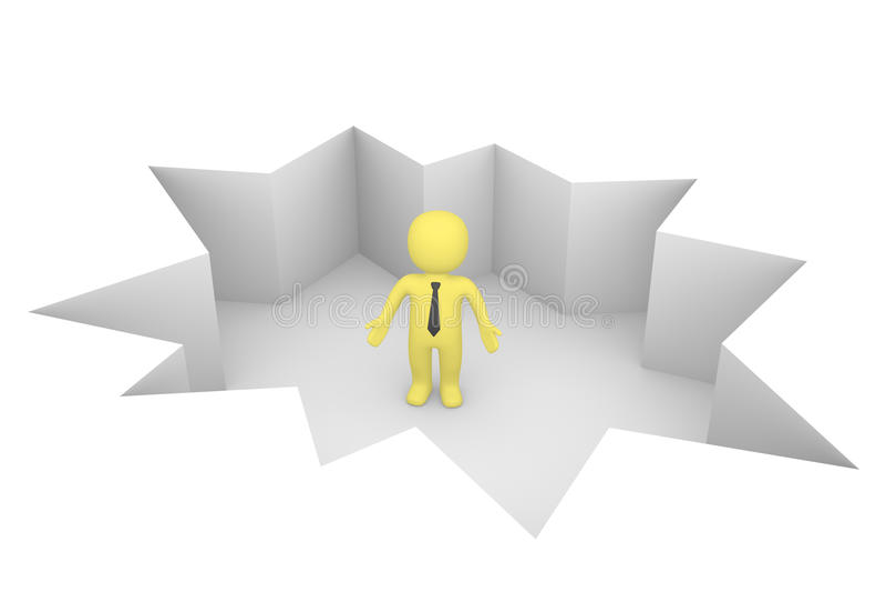 Zakenman in hiaat vector illustratie