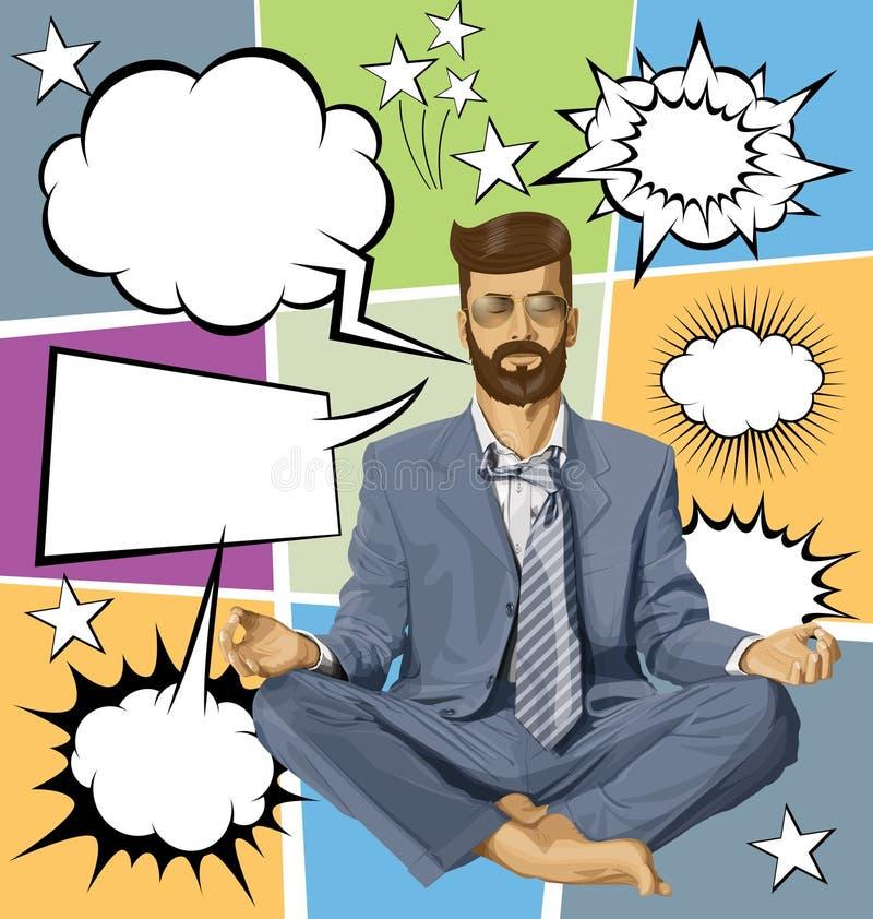 Zakenman Hipster in Lotus Pose Meditating With Bubble-Toespraak stock illustratie