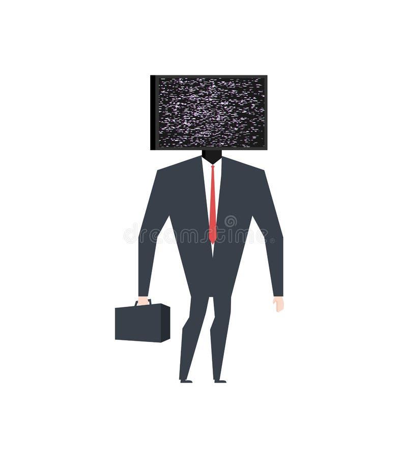 Zakenman hoofdtv Gebroken televisie Glycheffect Zieke vector royalty-vrije illustratie