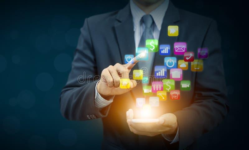 Zakenman huidig bedrijfspictogram, mededeling stock afbeelding