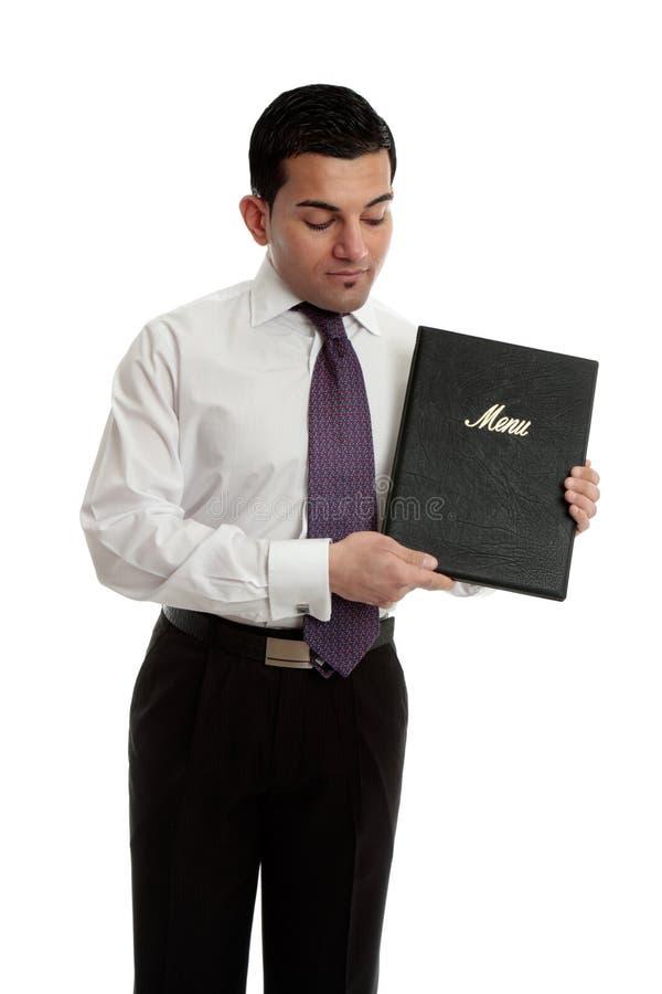 Zakenman of kelner met een zwarte omslag royalty-vrije stock fotografie