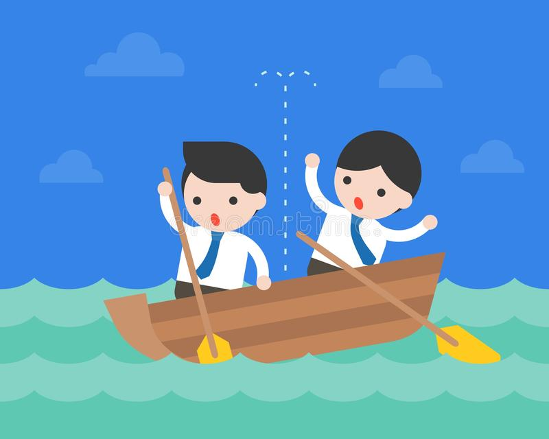 Zakenman in kleine lekke boot in oceaan, crisiszaken situat stock illustratie