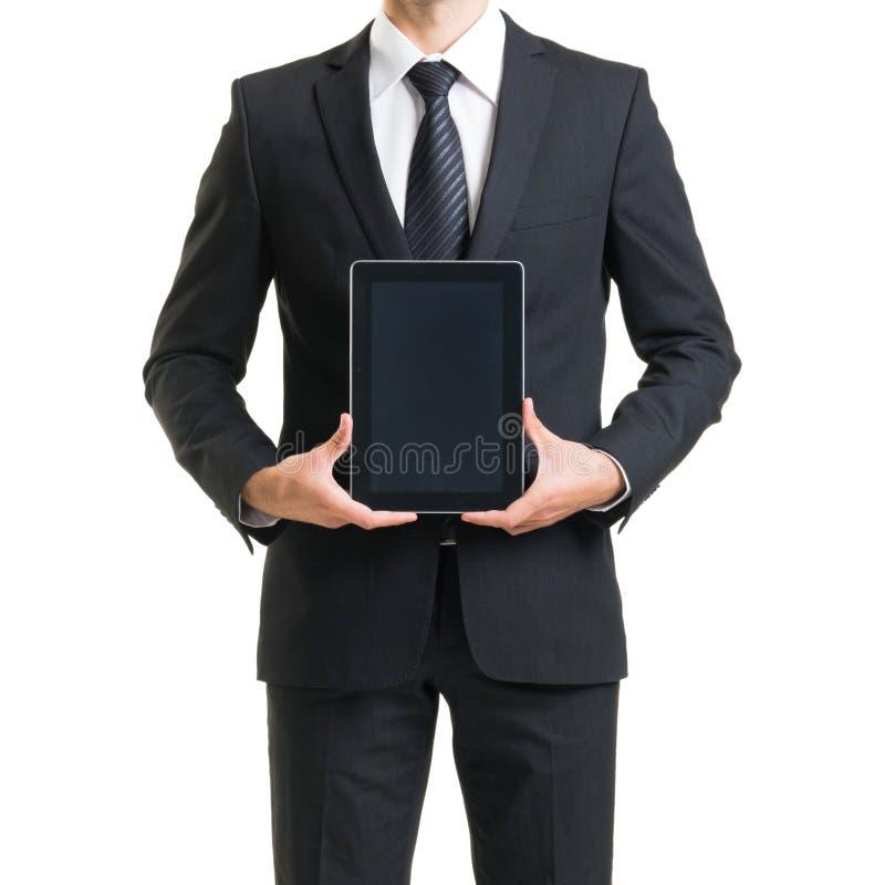 Zakenman in kostuum op wit Close-up van de mens in formalwear royalty-vrije stock afbeelding