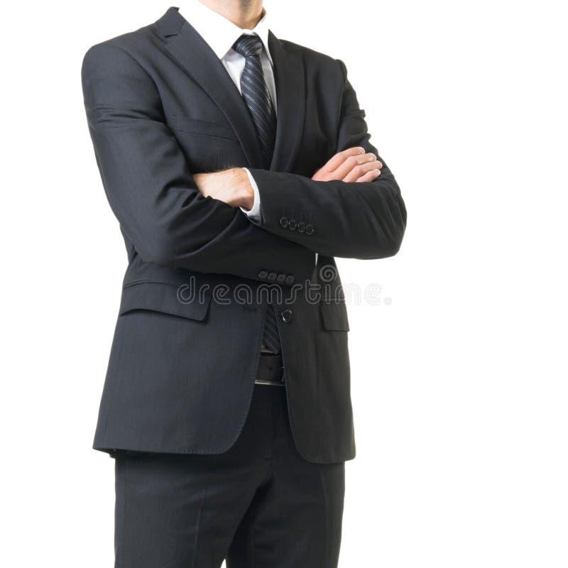 Zakenman in kostuum op wit wordt geïsoleerd dat Close-up van de mens in formalwear royalty-vrije stock foto