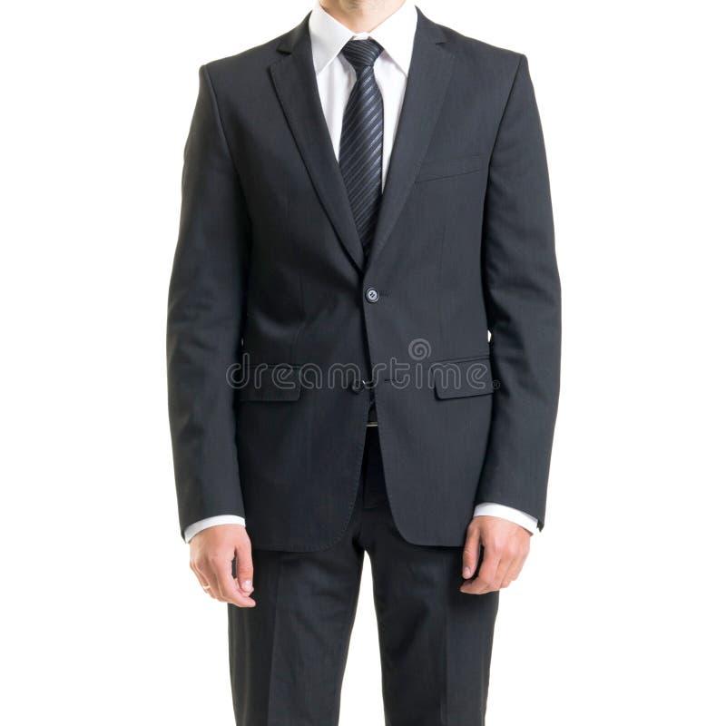 Zakenman in kostuum op wit wordt geïsoleerd dat Close-up van de mens in formalwear royalty-vrije stock afbeelding