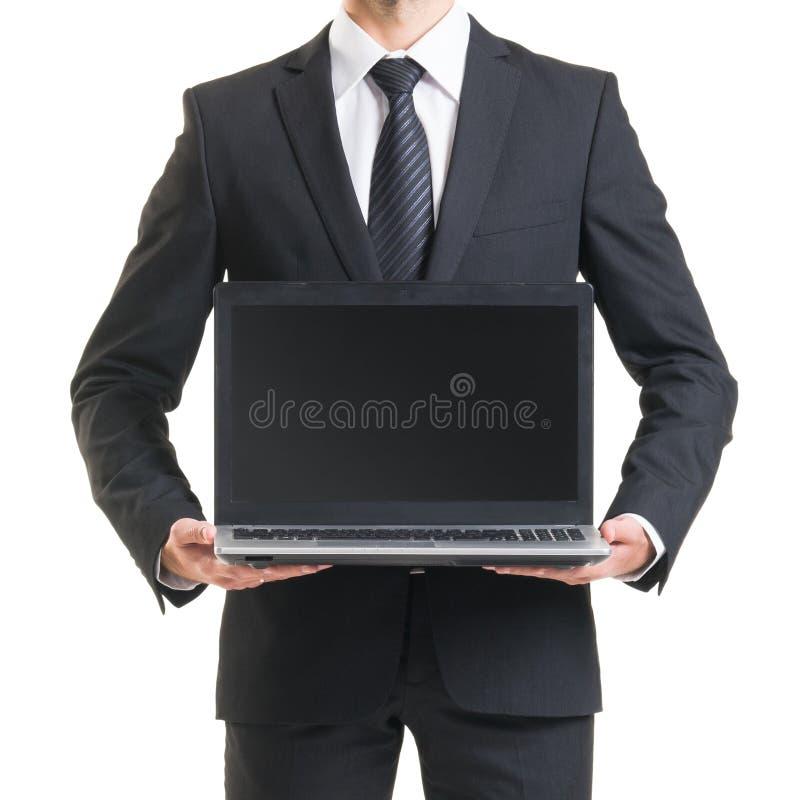 Zakenman in kostuum op wit wordt geïsoleerd dat Close-up van de mens in formalwear stock fotografie