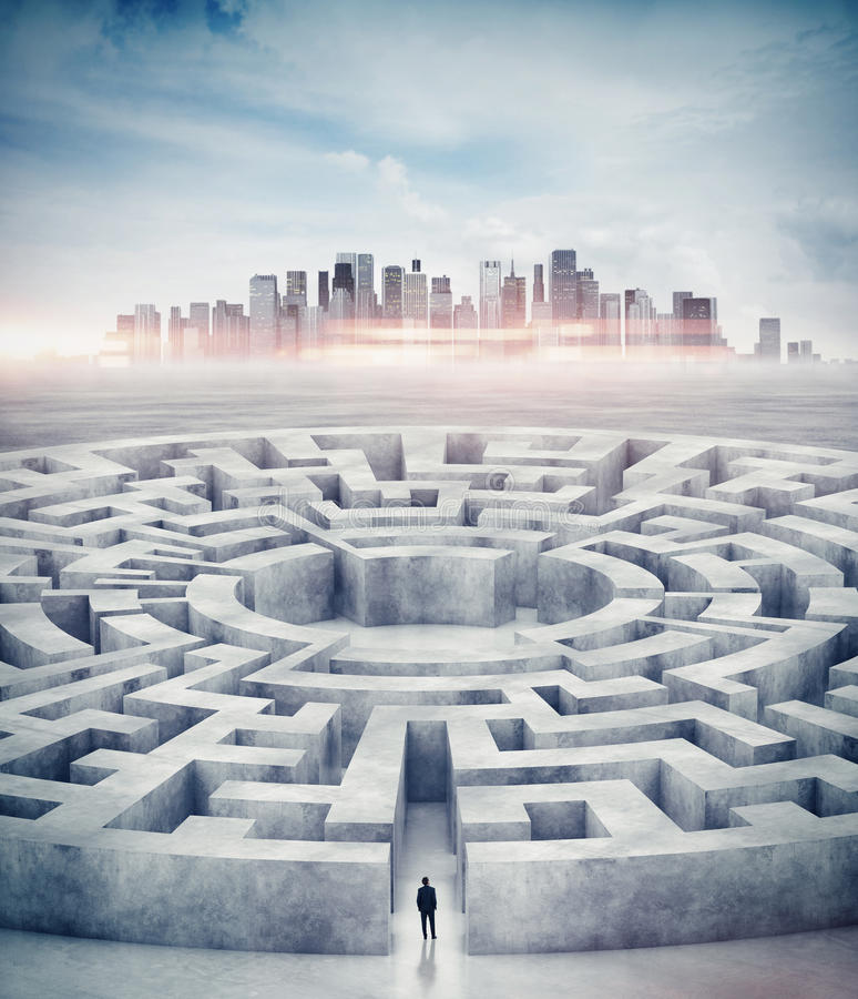 Zakenman in labyrint en stad op horizon 3d stock fotografie