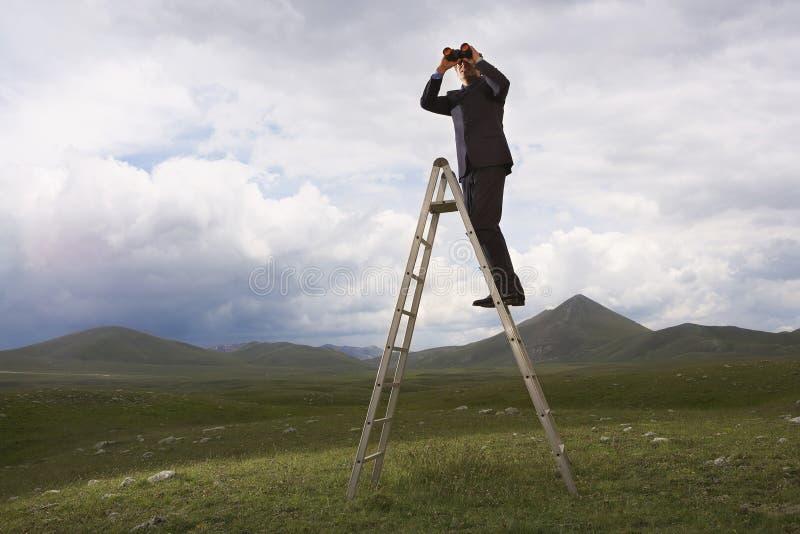 Zakenman On Ladder Looking door Verrekijkers royalty-vrije stock afbeeldingen