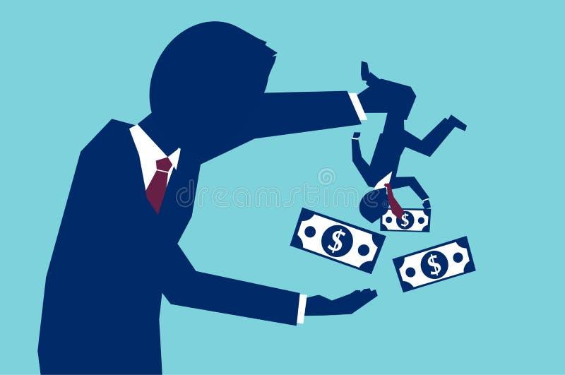 Zakenman lenend geld van arbeider royalty-vrije illustratie