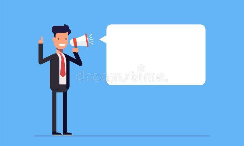 Zakenman of manager die aan de spreker schreeuwen De mens in een pak zegt belangrijk iets Vector, illustratie stock illustratie