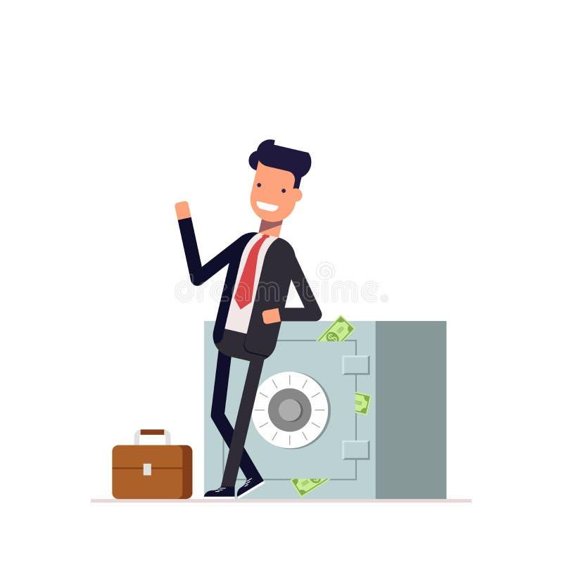 Zakenman of manager die bevinden dichtbij de gesloten brandkast waarvan stok zich uit geld Mens in pak het golven Vector vector illustratie