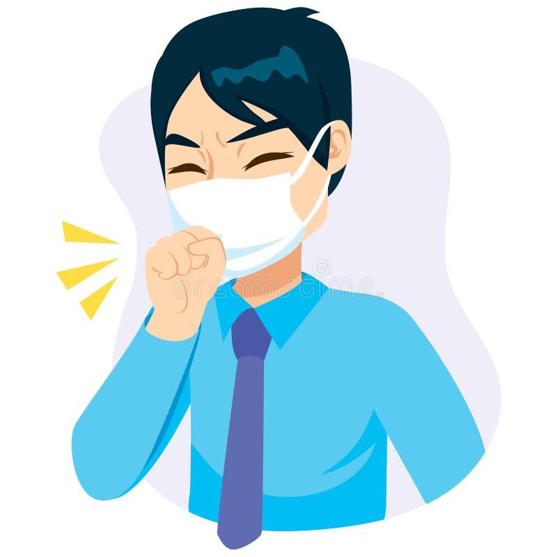 Zakenman Mask Coughing stock illustratie