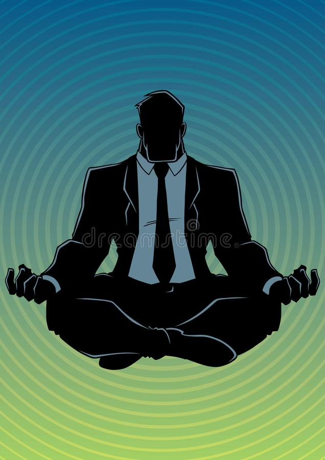 Zakenman Meditating Background Silhouette royalty-vrije illustratie