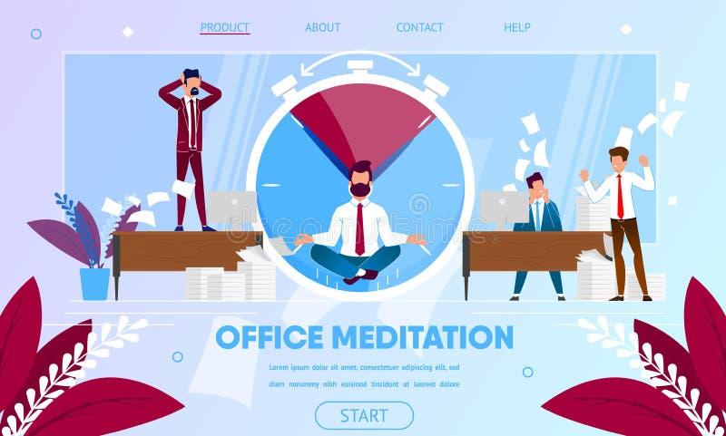 Zakenman Meditating, het Praktizeren Yogameditatie vector illustratie