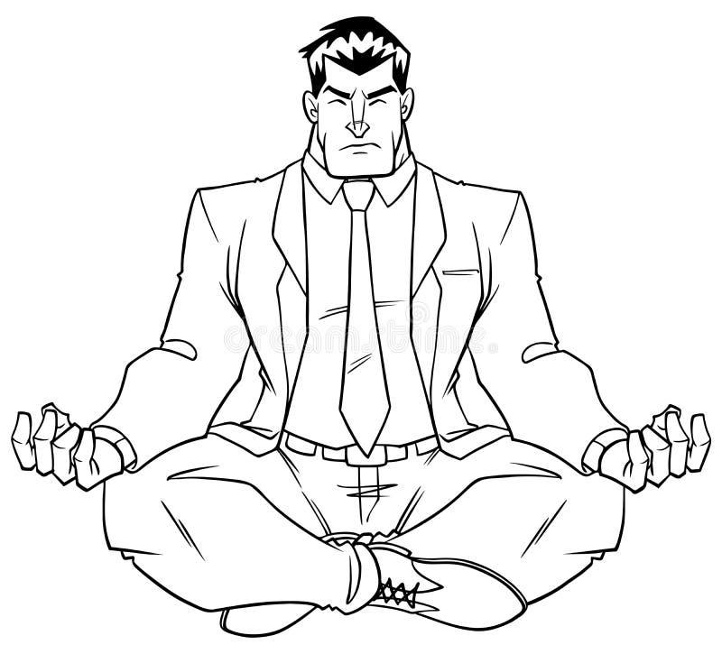 Zakenman Meditating Line Art stock illustratie