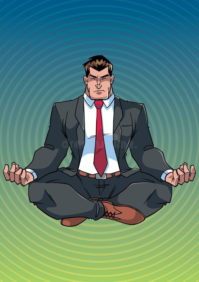Zakenman Meditating met Achtergrond vector illustratie