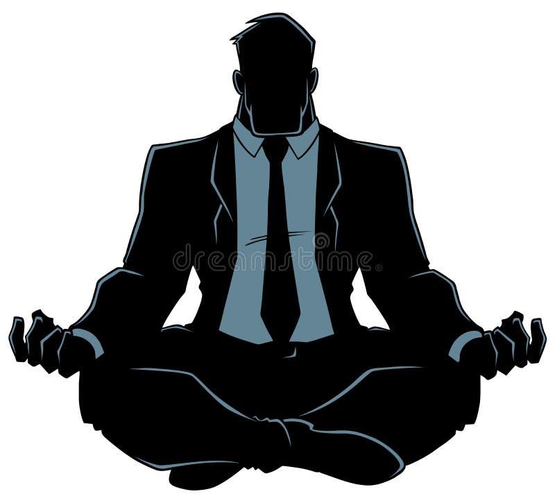Zakenman Meditating Silhouette stock illustratie