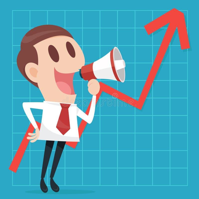 Zakenman met bedrijfs het groeien grafiek royalty-vrije illustratie