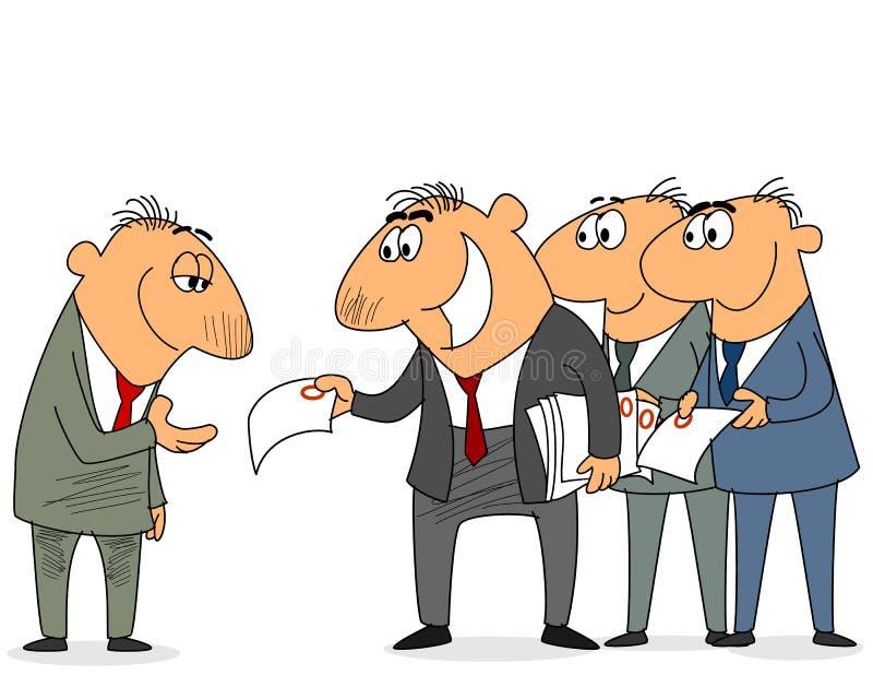 Zakenman met contracten stock illustratie