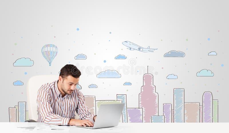 Download Zakenman Met De Achtergrond Van De Stadshemel -hemel-scape Stock Afbeelding - Afbeelding bestaande uit document, achtergrond: 39102087