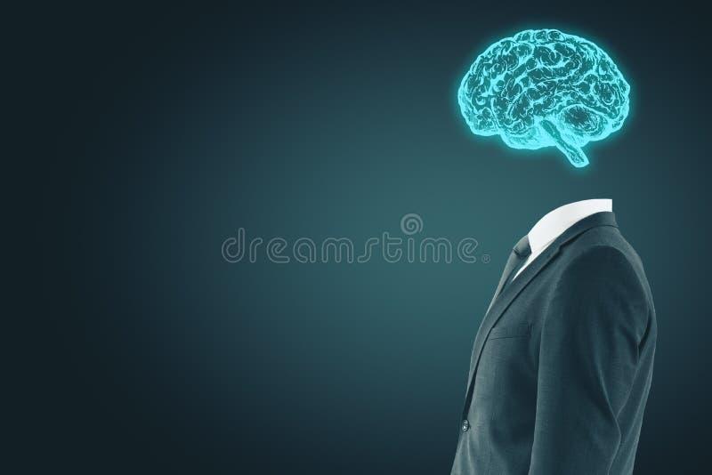 Zakenman met digitale hersenen stock afbeeldingen