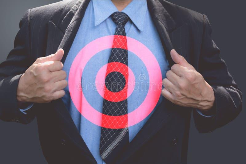 Zakenman met doel in de zaken Bedrijfsdoel en doel stock afbeelding