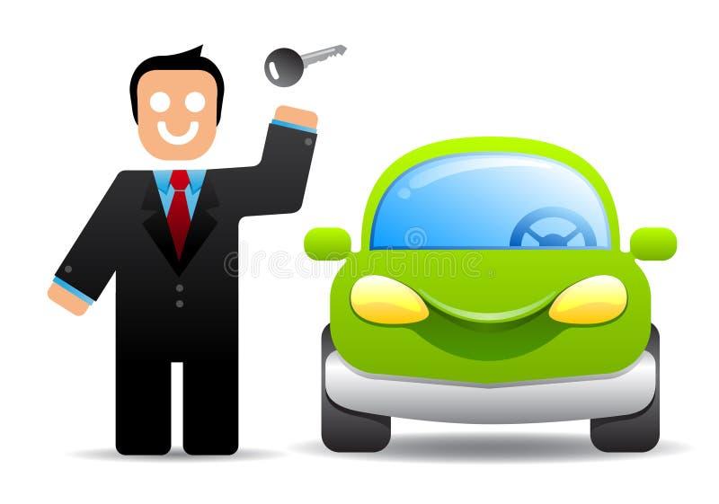 Zakenman met een autosleutel stock illustratie