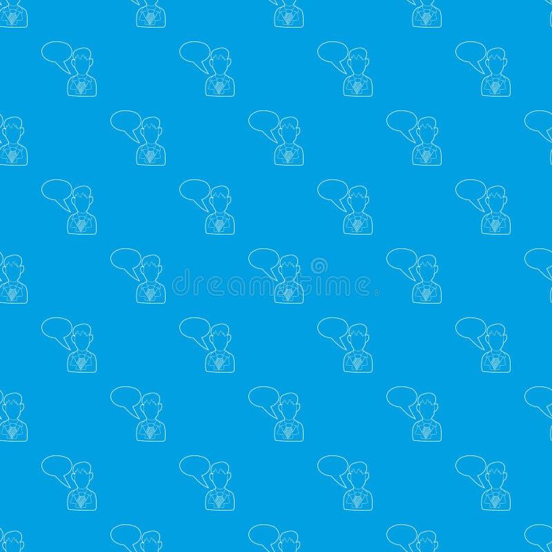 Zakenman met een leeg het patroon vector naadloos blauw van de toespraakbel vector illustratie