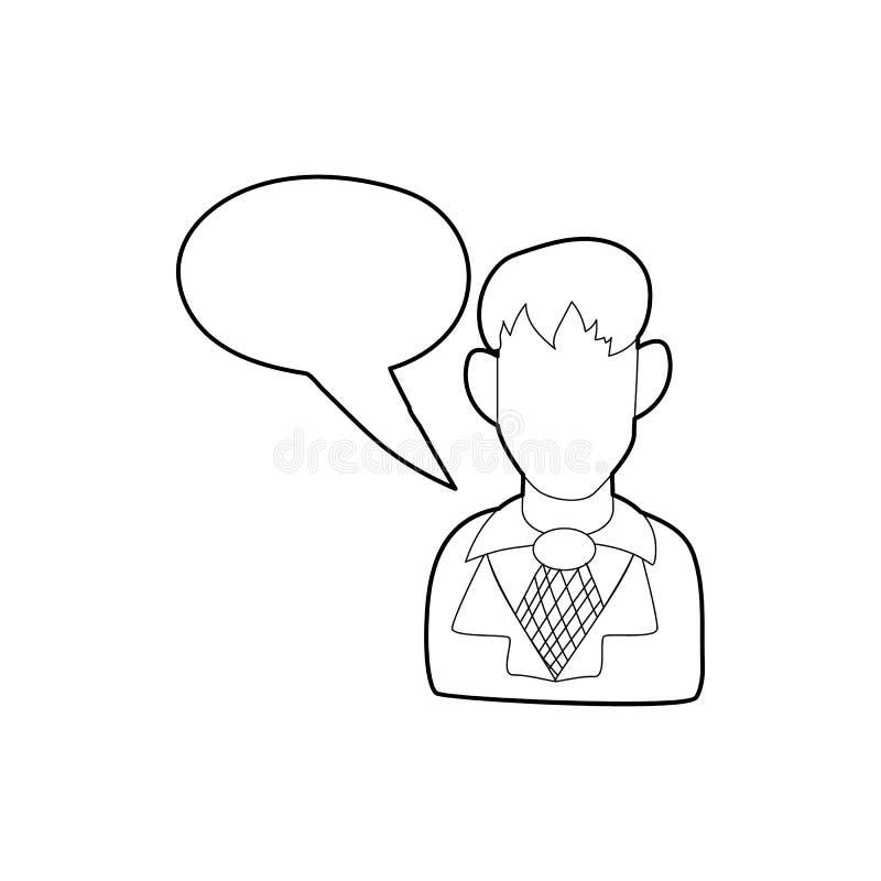 Zakenman met een leeg pictogram van de toespraakbel vector illustratie