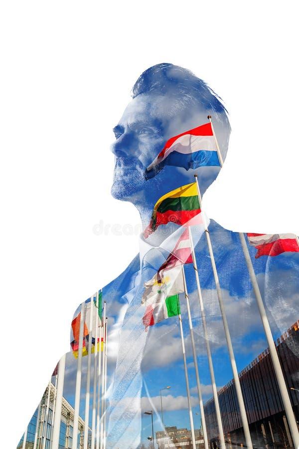 Zakenman met Europese vlaggen royalty-vrije stock afbeeldingen