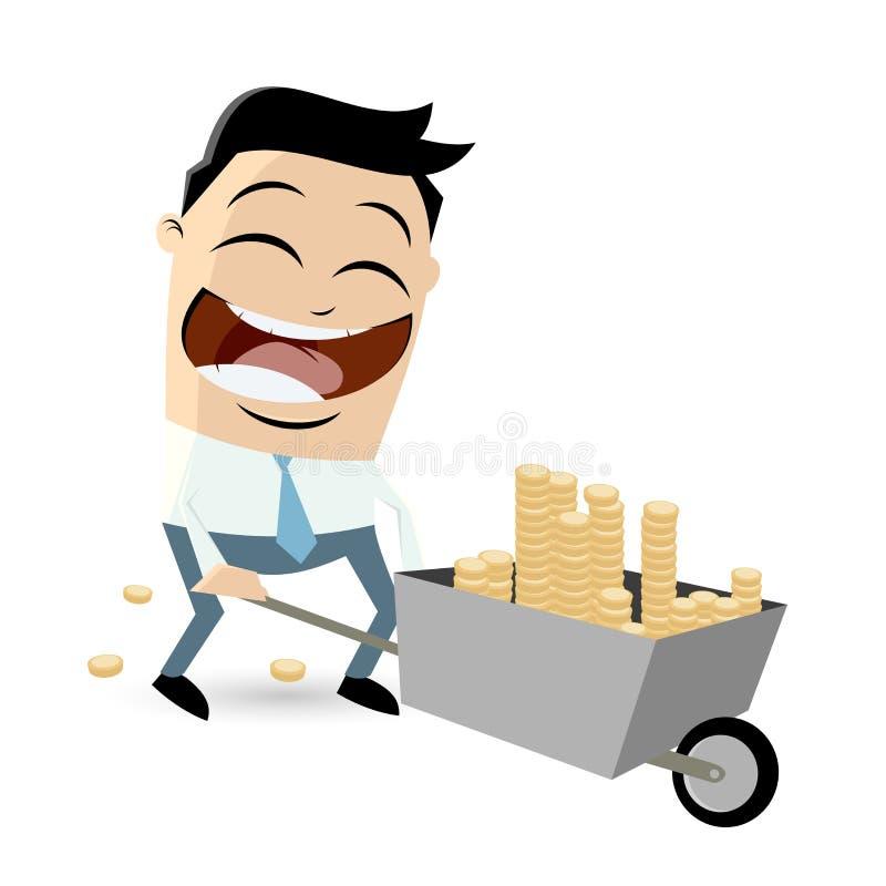 Zakenman met geld in kruiwagen vector illustratie