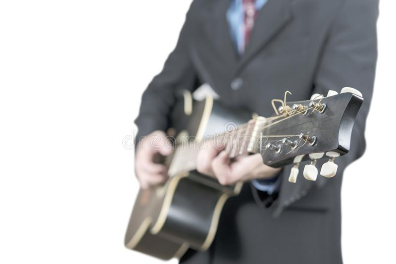 Zakenman met gitaar op wit royalty-vrije stock afbeeldingen