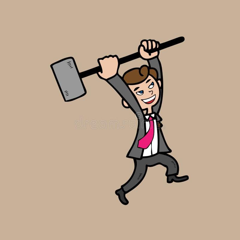 Zakenman met hamer stock illustratie